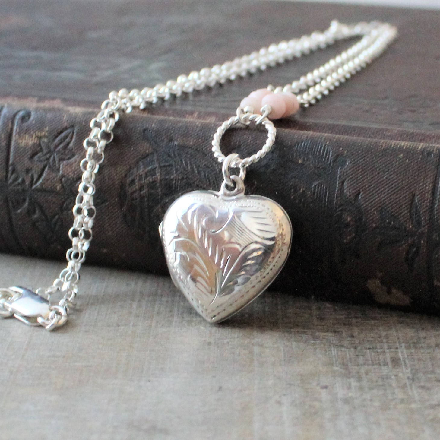 October Birthstone Locket, Pink Opal Locket, Photo Locket Necklace, Sterling Silver Locket, Silver Heart Locket, Picture Locket Pendant With Most Recent Pink October Birthstone Locket Element (View 15 of 25)
