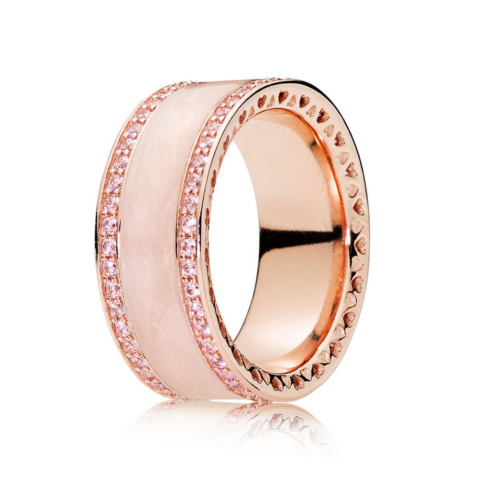 Official Pandora Rose Pink Hearts Band Ring 181024En95 Uk Outlet In Current Band Of Hearts Rings (View 12 of 25)