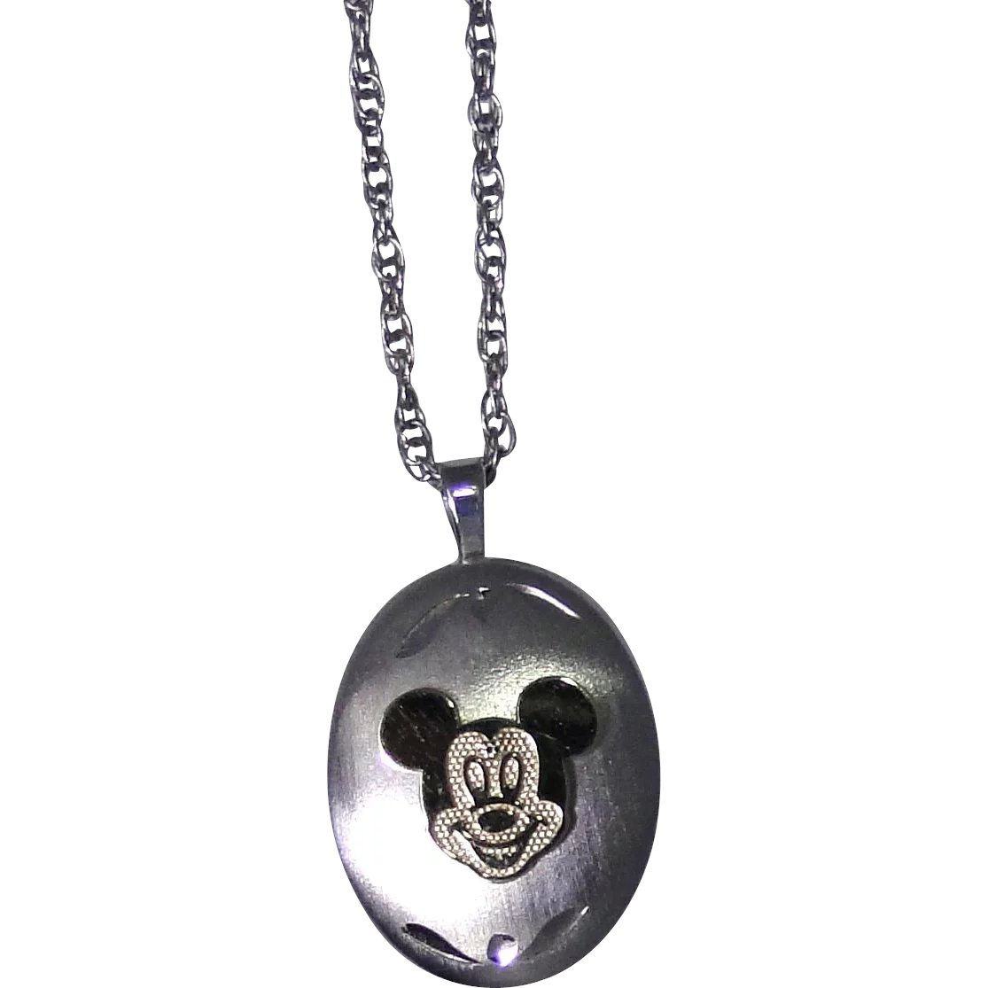 Official Vintage Disney Mickey Mouse Locket In Sterling Silver And 14Kt  Gold, With Sterling Chain Throughout Current Disney Classic Mickey Pendant Necklaces (View 16 of 25)