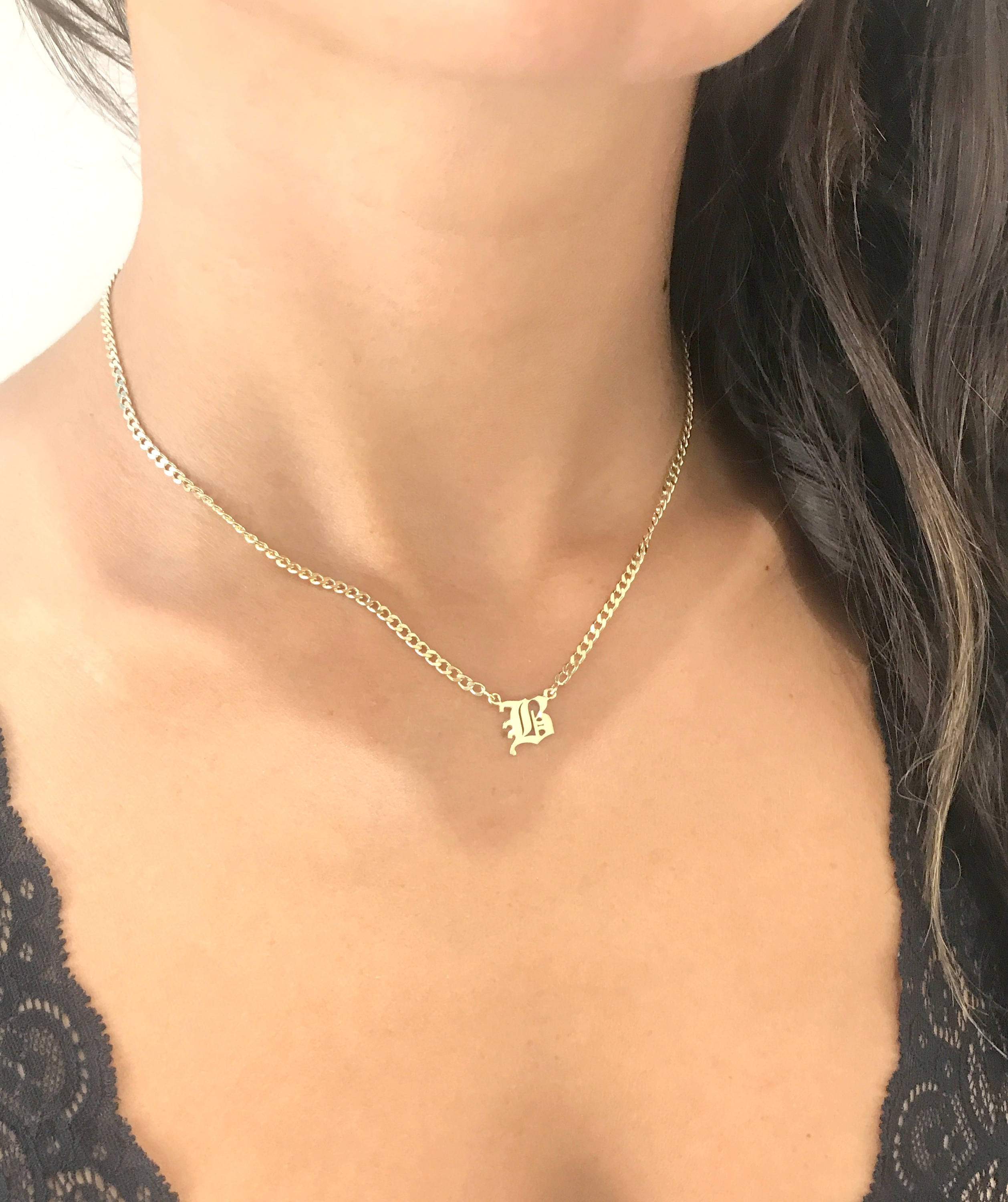 Old English Initial Necklace – Dainty Initial Necklace – Curb Chain  Necklace – Personalized Necklace – Gothic Initial Necklace – Mother Gift In 2019 Curb Chain Necklaces (View 17 of 25)