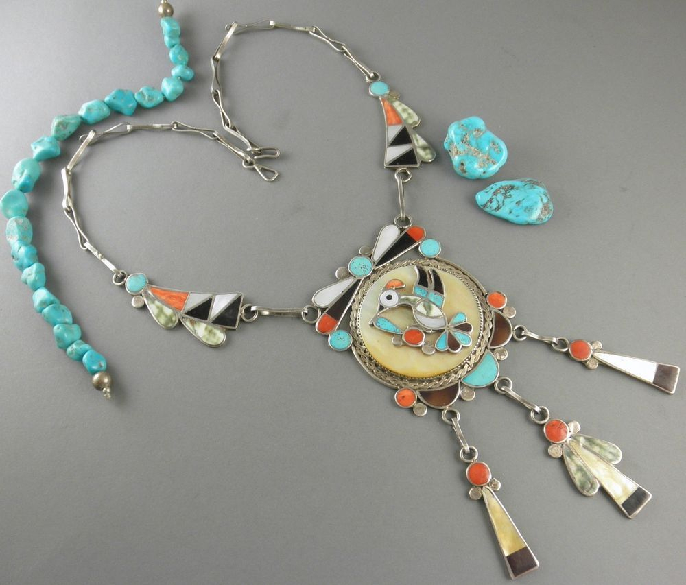 Old Hummingbird Theodore Edaakie B.1911 Spiny Oyster Turquoise Zuni In Most Recently Released Theodore Bear Pendant Necklaces (Gallery 9 of 25)