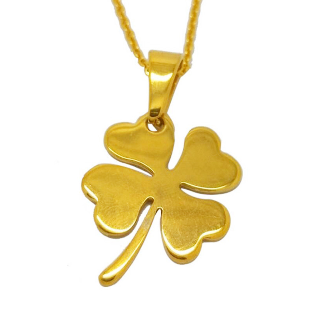 Olivia Vintage Gold Plated Stainless Steel Shining Charming Lucky Flower Pendant Four Leaf Clover Necklace – Buy Four Leaf Clover Necklace,lucky For Newest Shining Leaf Pendant Necklaces (Gallery 21 of 25)