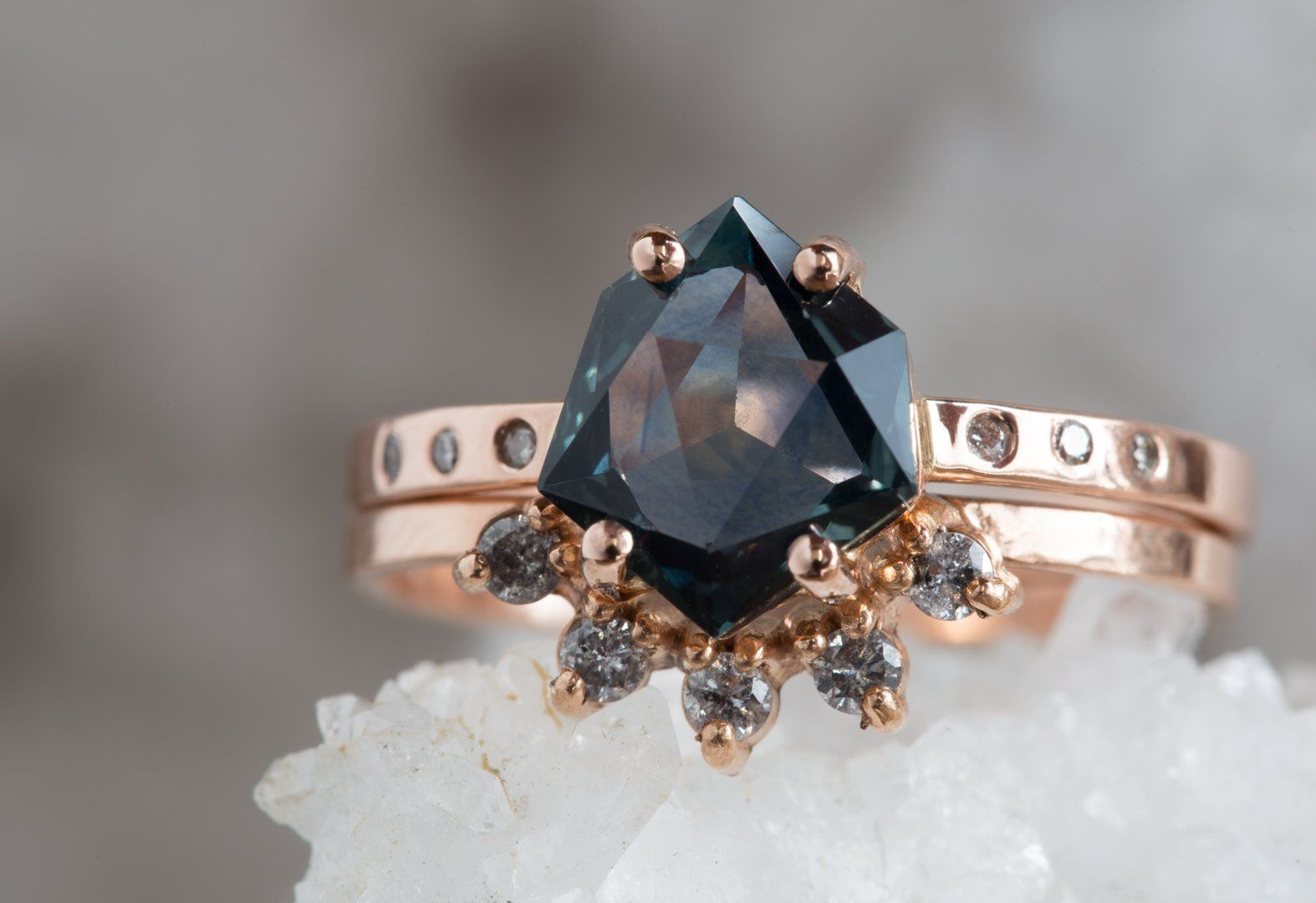One Of A Kind Geometric Montana Sapphire Engagement Ring In 2019 Pertaining To Latest Pavé Hearts Band Rings (Gallery 24 of 25)