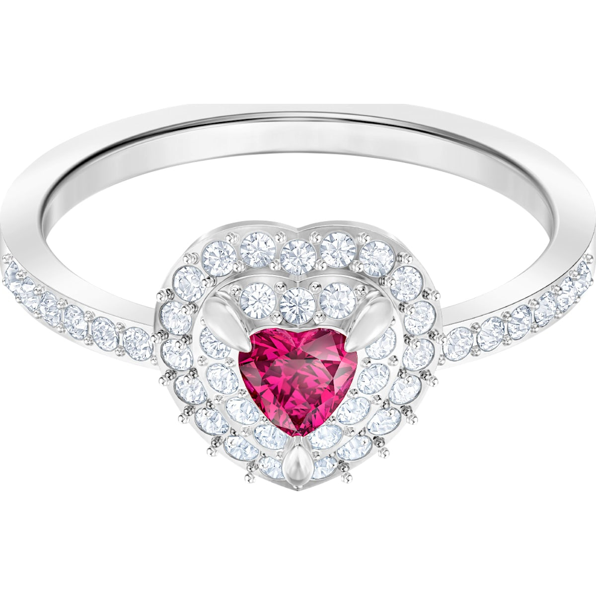 One Ring, Red, Rhodium Plated Intended For Most Up To Date Sparkling Red Heart Rings (View 9 of 25)