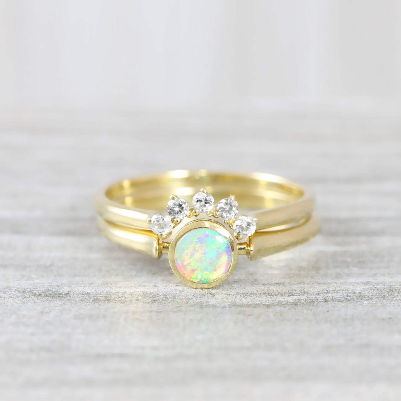 Opal And Diamond Engagement Wedding Ring Set Handmade In Rose/white/yellow  Gold Art Deco Inspired Thin Petite Band Minimal Simple Unique Regarding 2020 Diamond Art Deco Inspired Anniversary Bands In White Gold (Gallery 25 of 25)