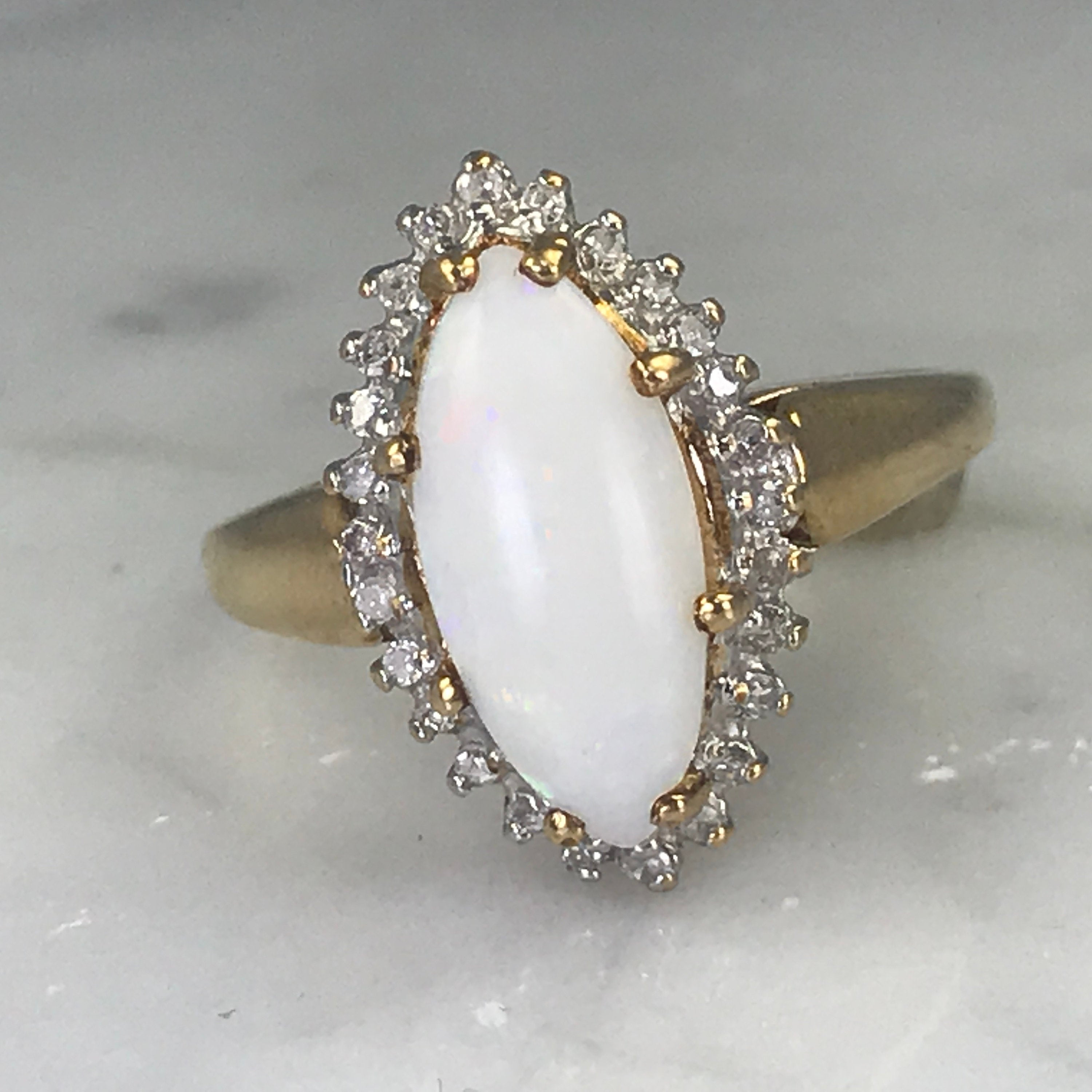 Opal Engagement Ring. Diamond Halo Ring. 10K Gold (View 17 of 25)