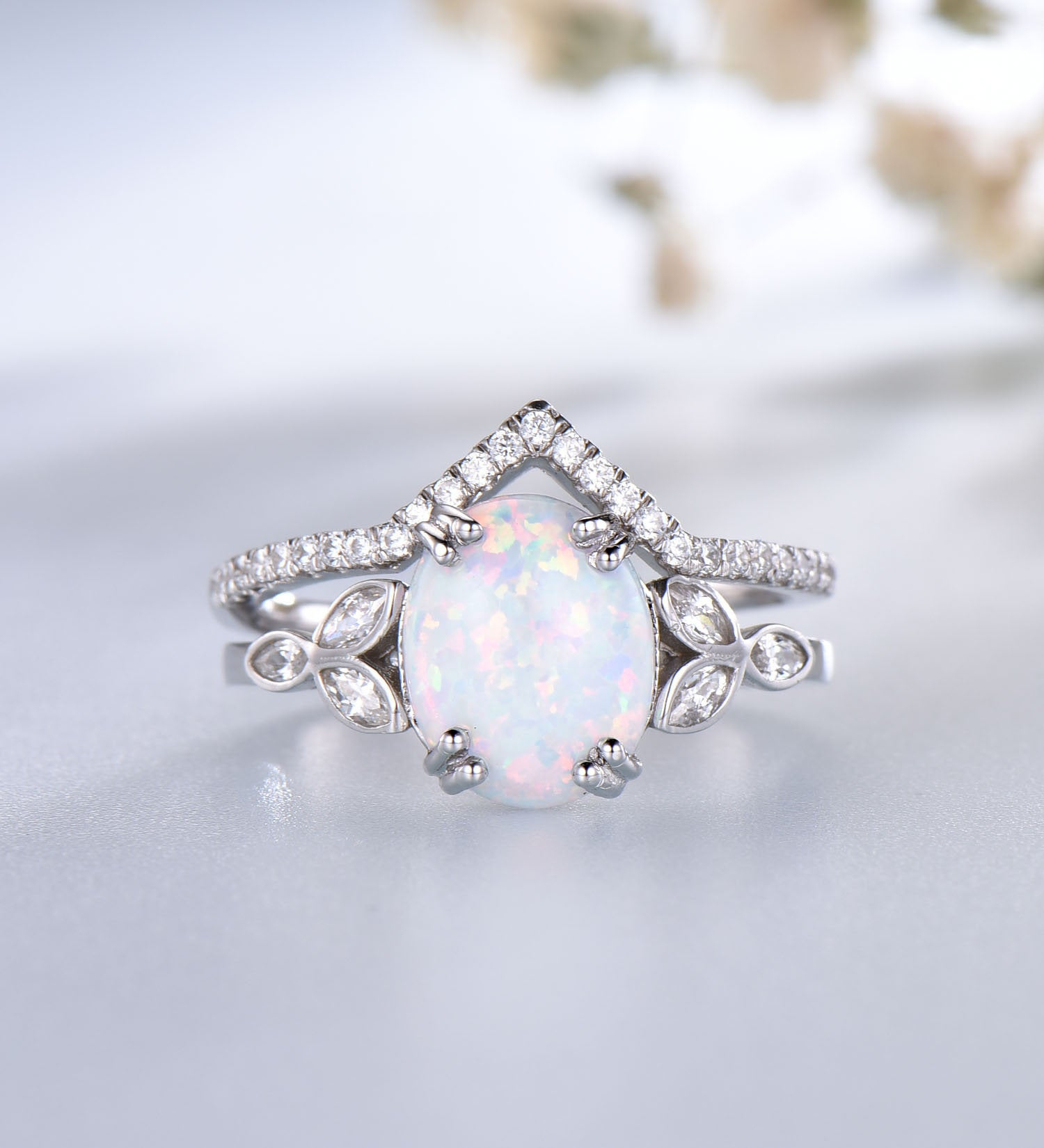 Opal Engagement Ring Sterling Silver Vintage Style Wedding Set Cz Diamond  Wedding Band October Birthstone Jewelry 14K Gold Rings Within Most Popular Diamond Vintage Style Anniversary Bands In Sterling Silver (View 14 of 25)
