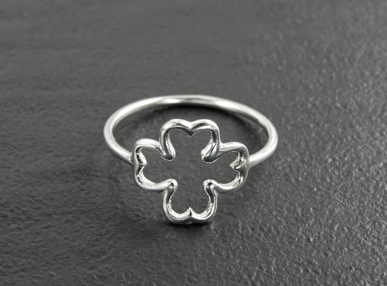 Featured Photo of Lucky Four Leaf Clover Open Rings