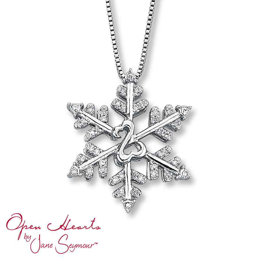 Open Heart Necklace 1/10 Ct Tw Diamonds Sterling Silver Throughout Current Shimmering Snowflake Locket Element Necklaces (Gallery 6 of 25)