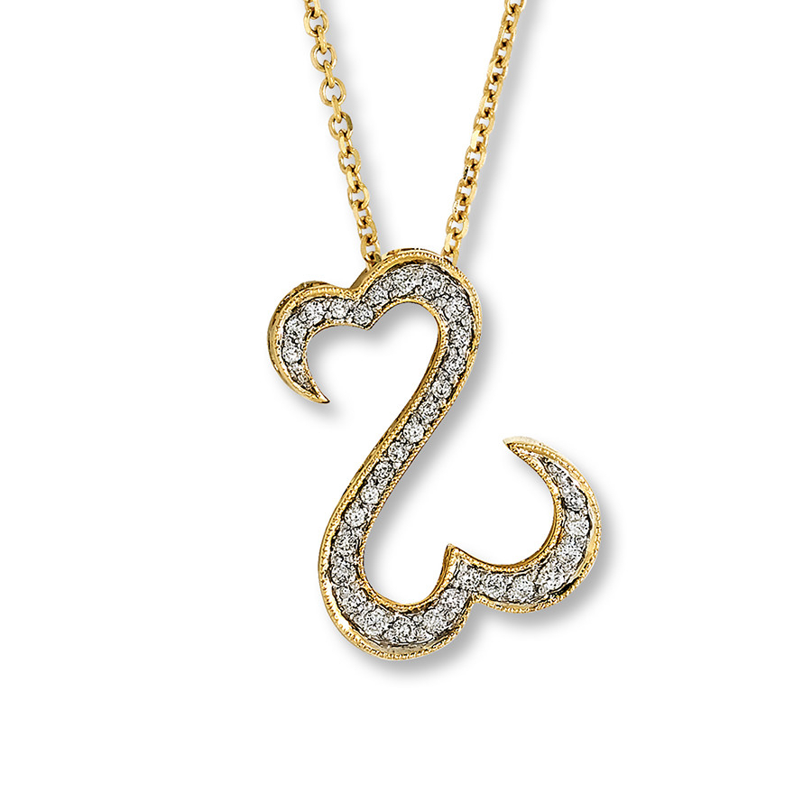 Open Hearts Necklace 1/4 Ct Tw Diamonds 10K Yellow Gold – 211385303 With Regard To Most Recently Released Open Heart Necklaces (View 14 of 25)
