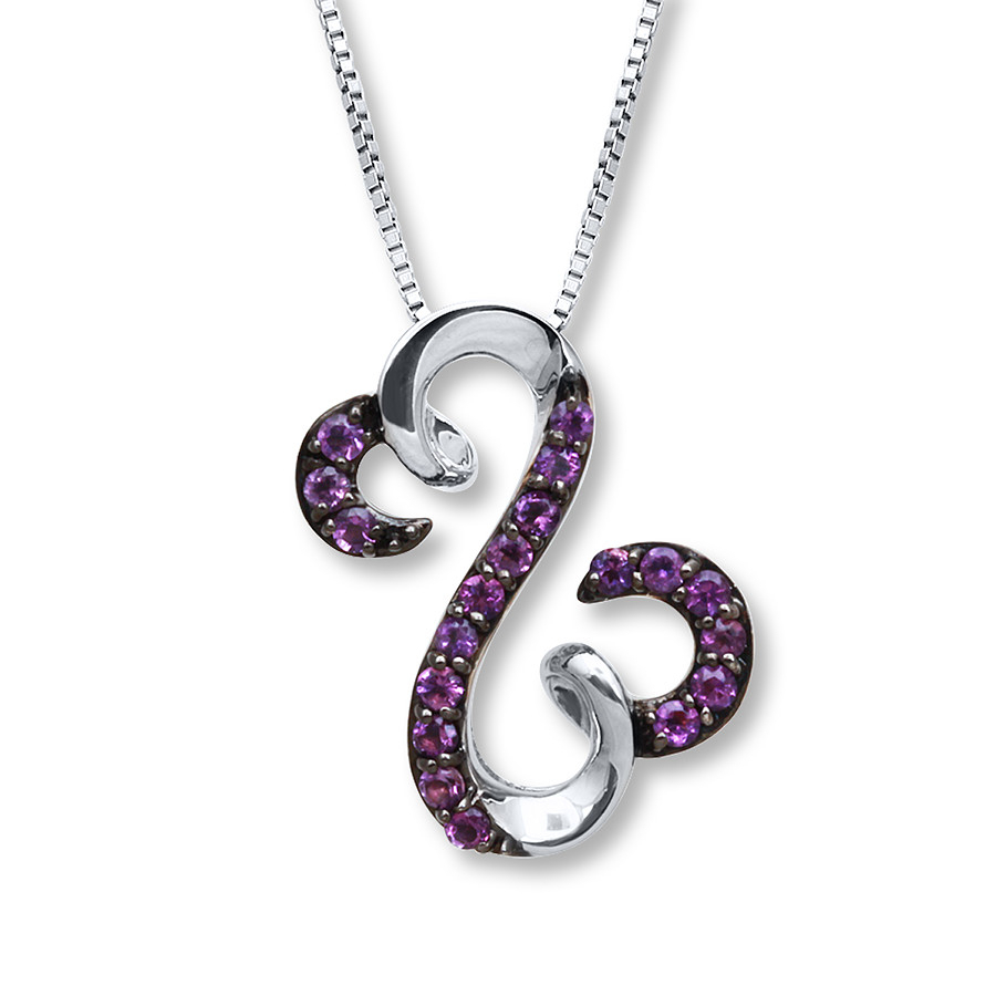Open Hearts Necklace Amethyst Sterling Silver Regarding Most Popular Open Heart Necklaces (View 6 of 25)