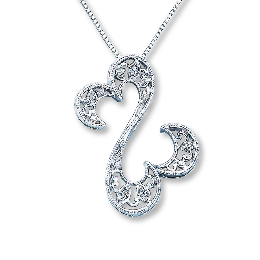 Open Hearts Necklace Diamond Accents Sterling Silver Throughout Most Recent Open Heart Necklaces (Gallery 7 of 25)