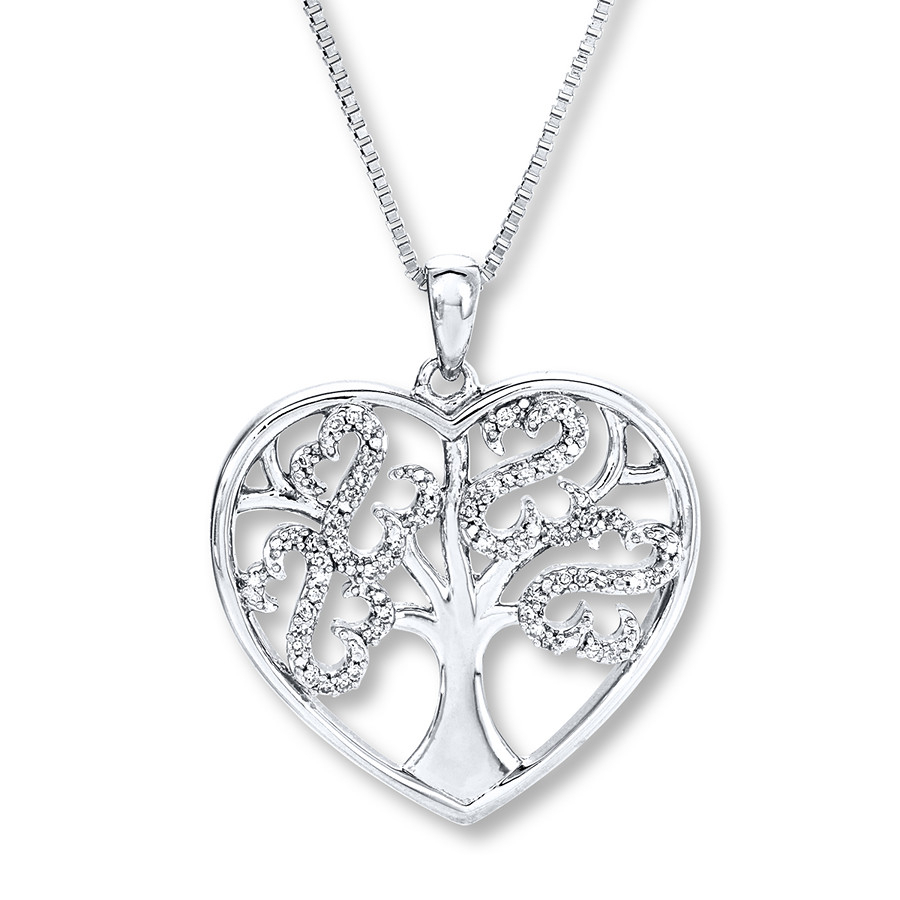 Open Hearts Tree Necklace 1/10 Ct Tw Diamonds Sterling Silver With 2019 Family Tree Heart Pendant Necklaces (Gallery 3 of 25)