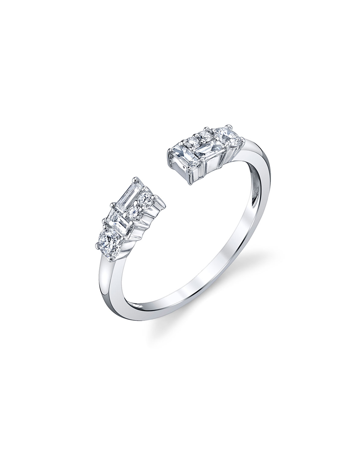 Open Mixed Cut Diamond Ring In 18K White Gold, Size 6.75 Inside Most Popular Champagne And White Diamond Quilted Anniversary Rings In White Gold (Gallery 23 of 25)