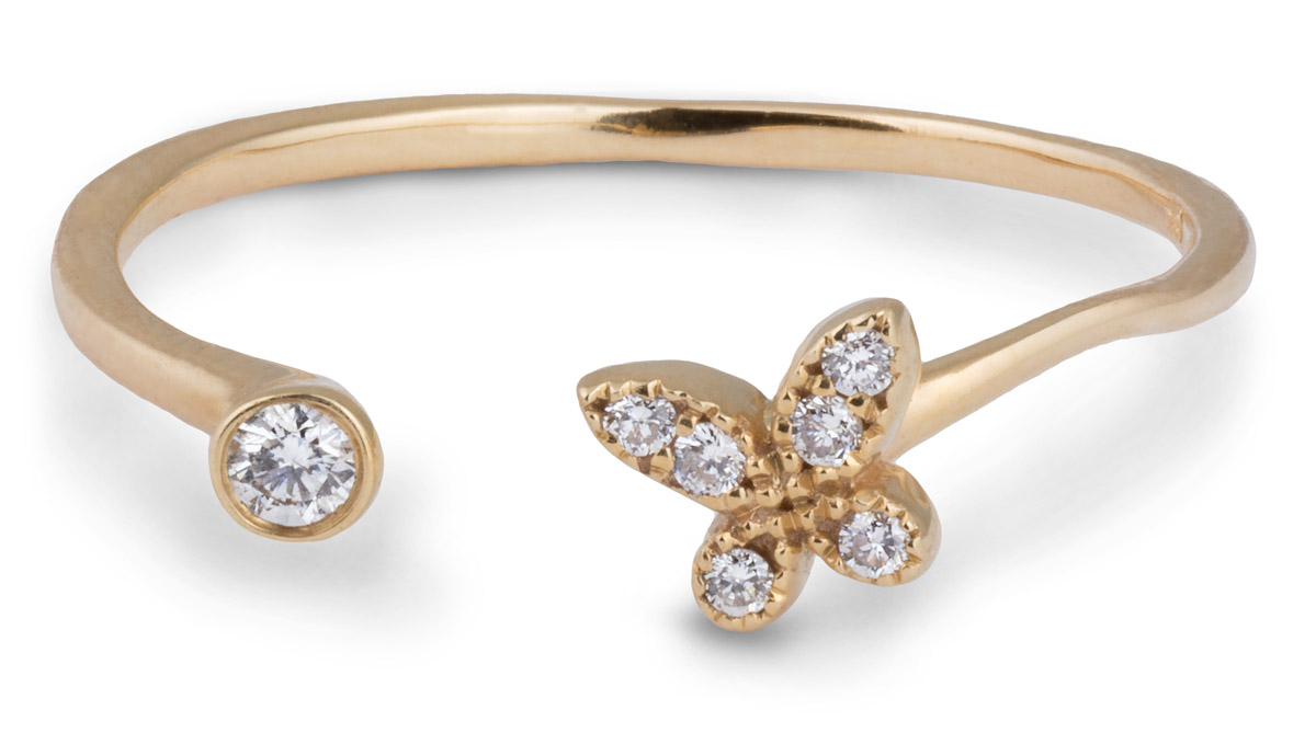 Open Shank Butterfly Ring With Diamonds For Most Current Sparkling Butterfly Open Rings (Gallery 6 of 25)