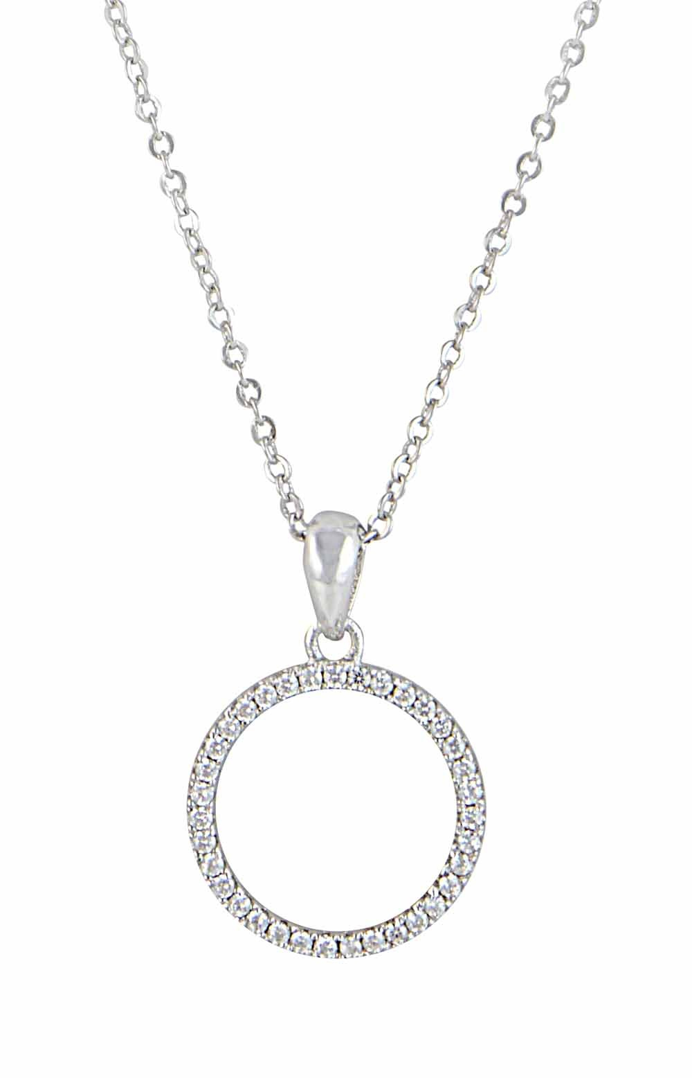 Open Silver Circle Pendant Necklace Regarding 2019 Circle Of Sparkle Necklaces (View 6 of 25)