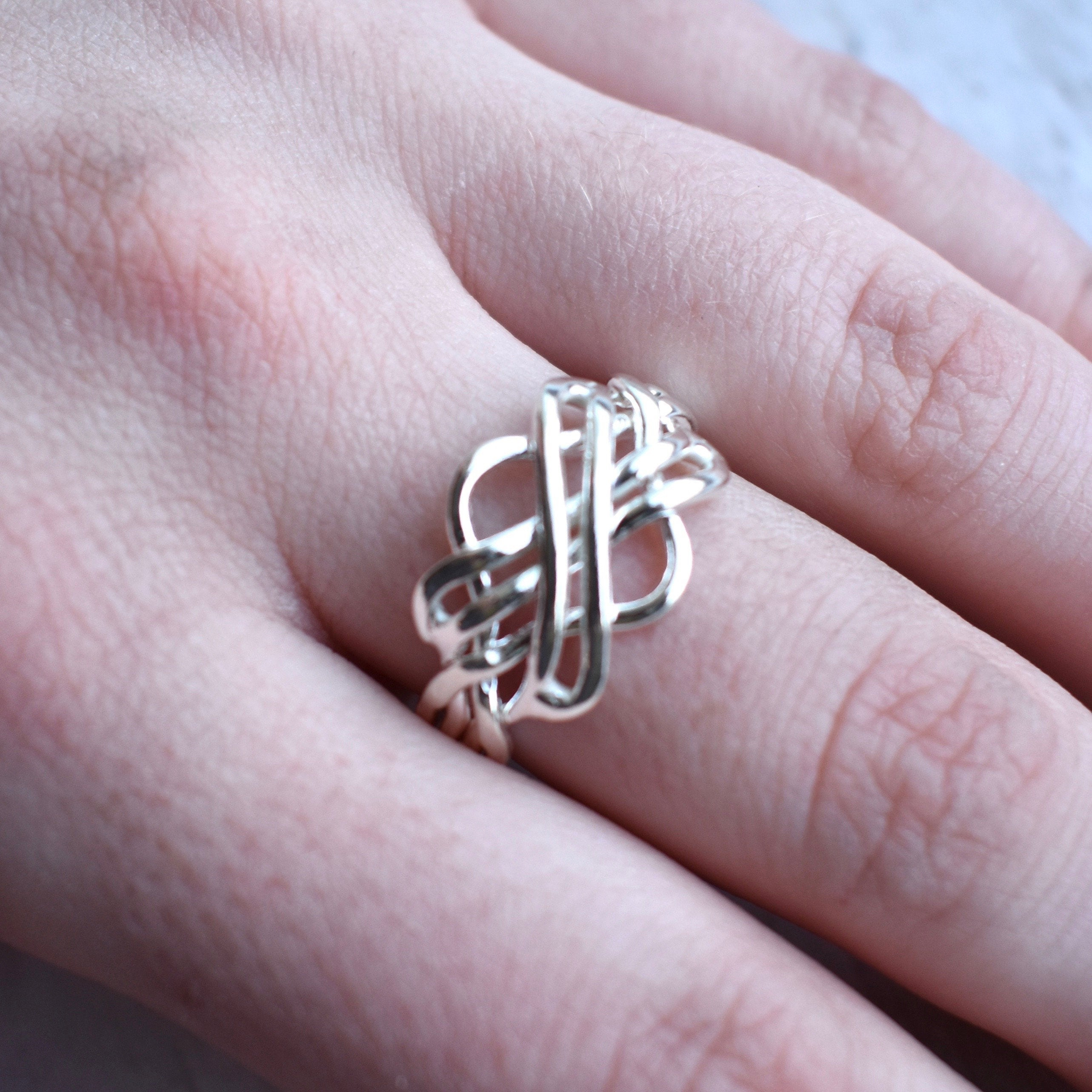 Open Weave Puzzle Ring // Sterling Silver Ring // Statement Ring //  Sterling Silver // Village Silversmith Regarding Best And Newest Polished Heart Puzzle Rings (Gallery 5 of 25)