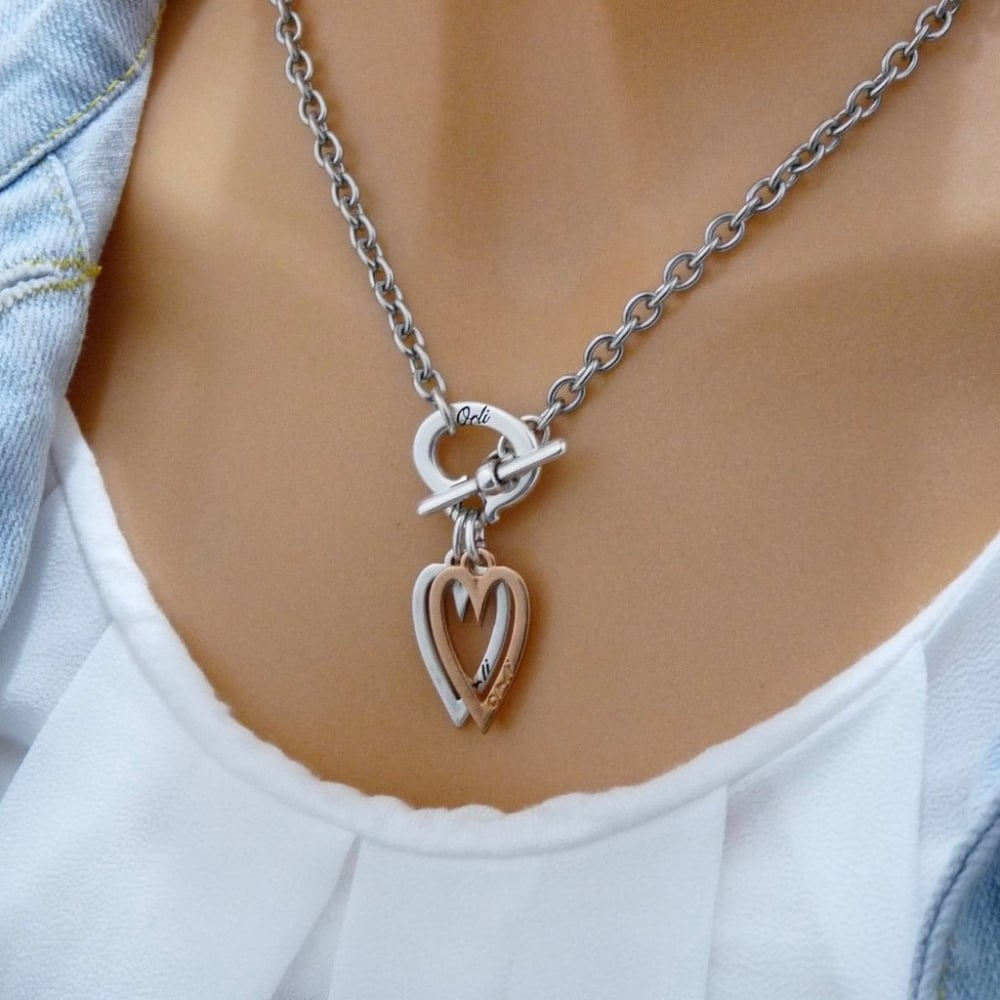 Orli Jewellery Silver And Rose Gold Mini Open Heart Necklace Throughout Most Popular Open Heart Necklaces (Gallery 23 of 25)