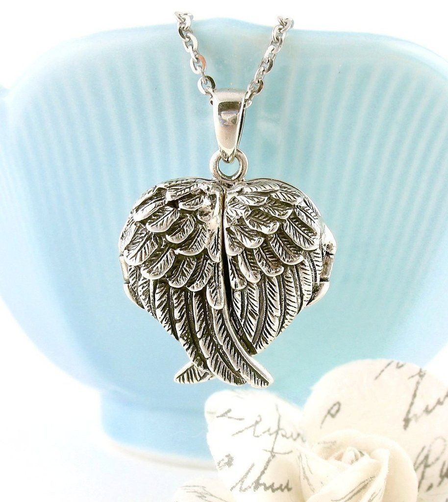 Ornate Folded Angel Wings Heart Locket Necklace | Angel Wing Inside Most Recent Ornate Hearts Tassel Necklaces (View 13 of 25)