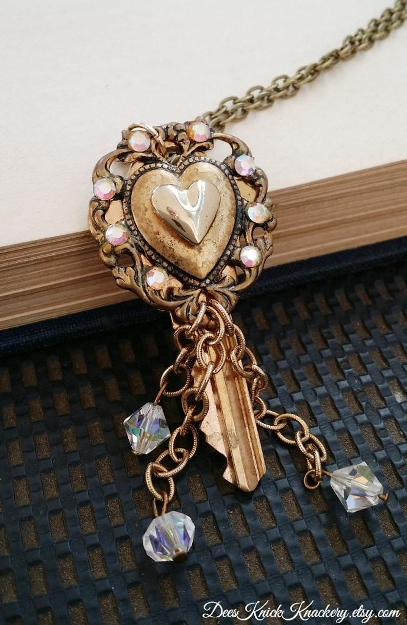 Ornate Gold Heart  Key Necklace Pertaining To Latest Ornate Hearts Tassel Necklaces (View 14 of 25)