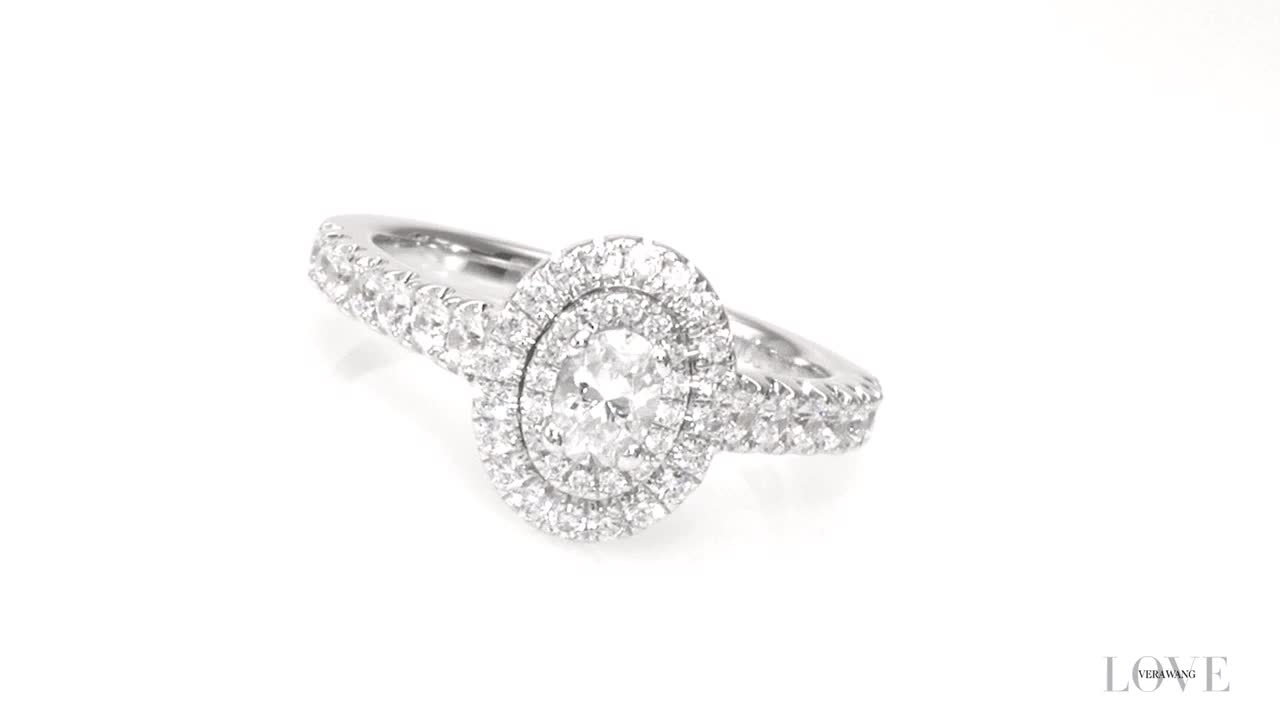 Oval Diamond Double Frame Engagement Ring In 14K White Gold Zales Vera Wang  Love Collection 3/4 With Regard To Most Recent Diamond Double Frame Anniversary Bands In White Gold (View 18 of 25)