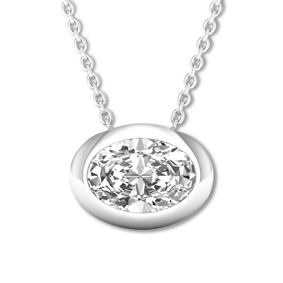 Oval Diamond Solitaire Necklace 1/5 Carat 14K White Gold Pertaining To Most Recent Oval Sparkle Halo Pendant Necklaces (Gallery 8 of 25)