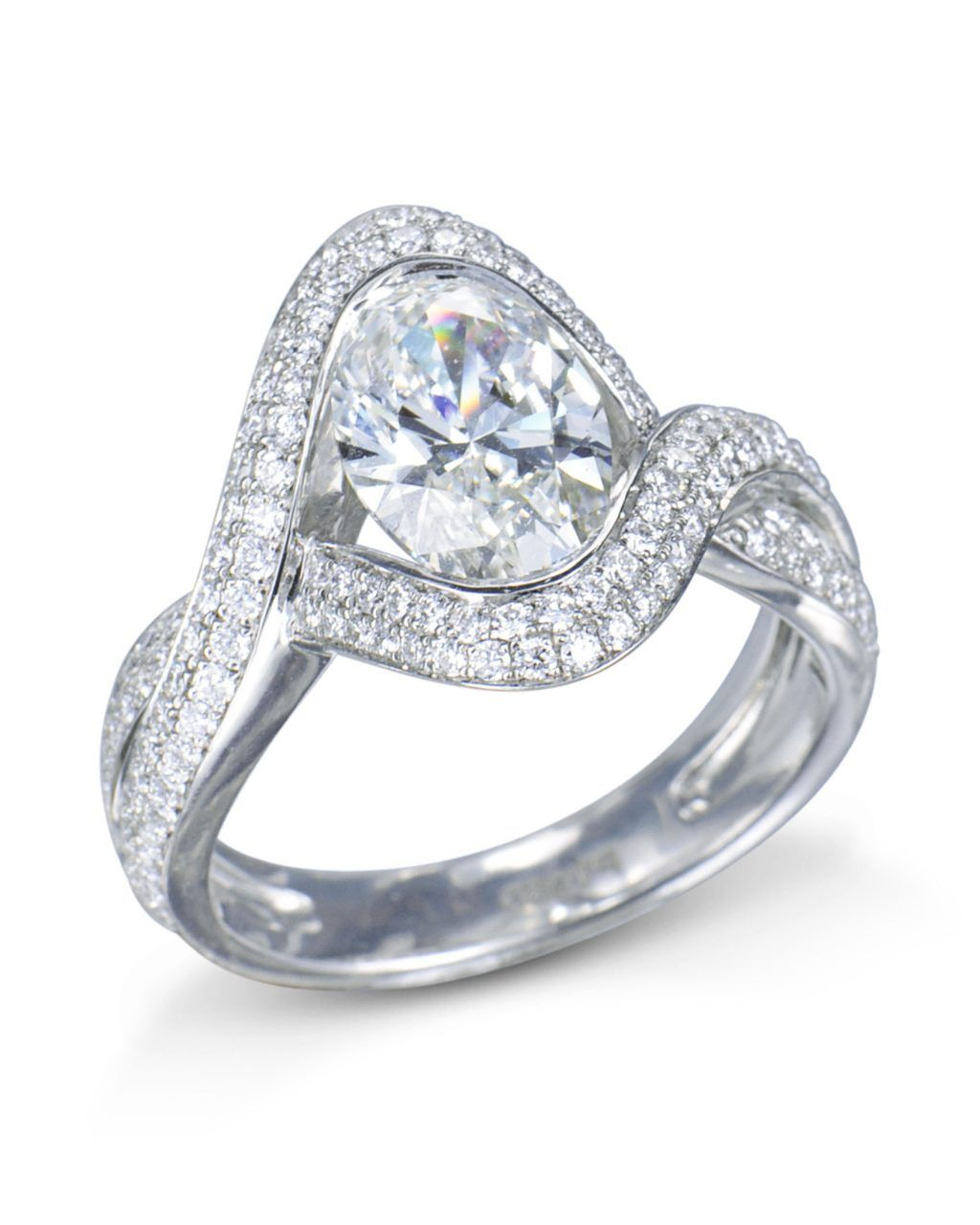 Oval Double Band Pavé Diamond Ring | Diamond Engagement Rings For Most Current Elegant Pavé Band Rings (View 19 of 25)