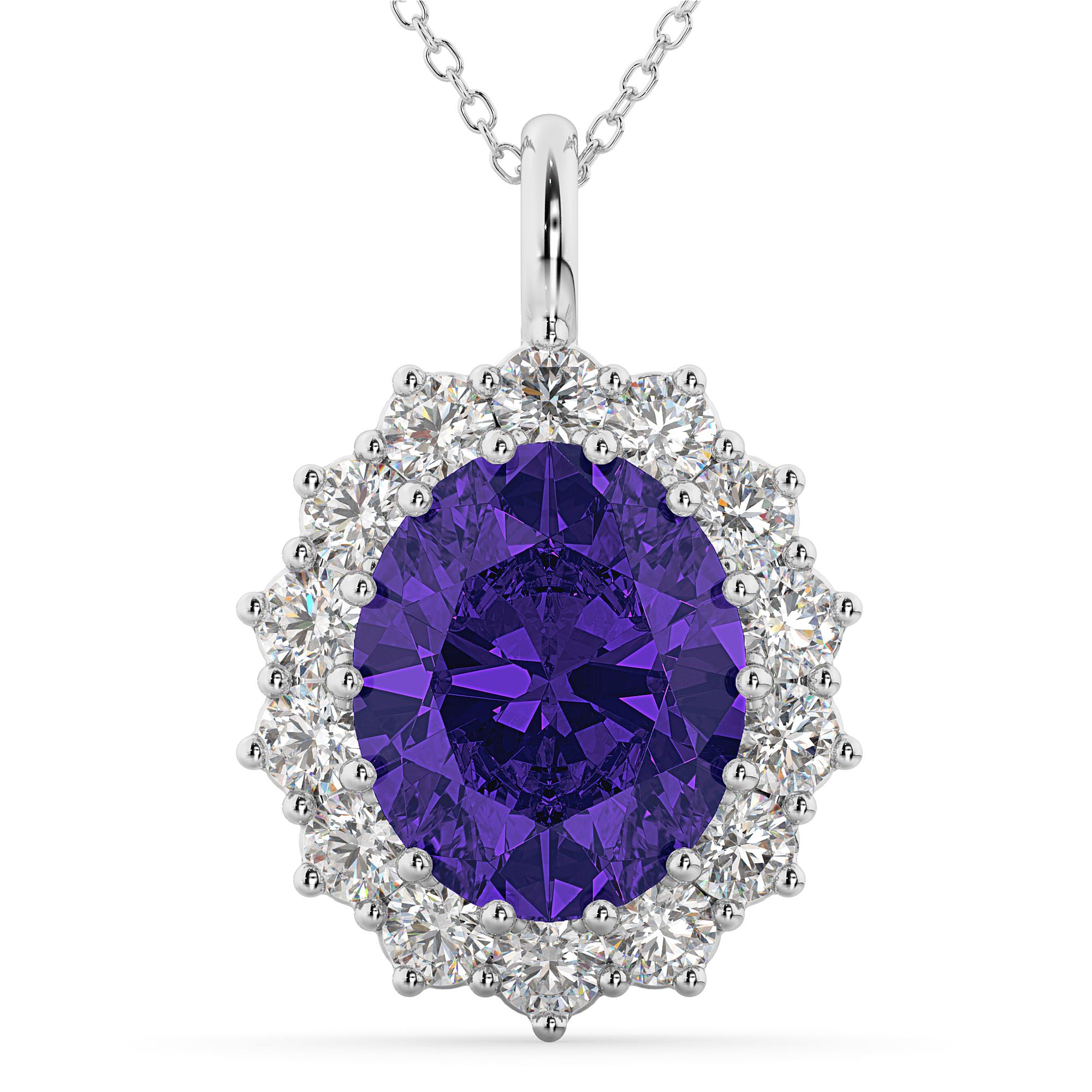 Oval Tanzanite & Diamond Halo Pendant Necklace 14k White Gold ( (View 11 of 25)