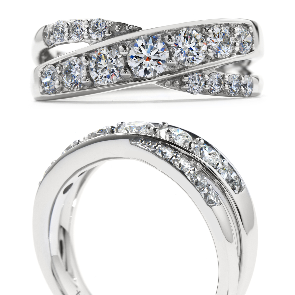 Overlap Hearts On Fire Ring — Engagement Rings | Jeweler | Cleveland With Regard To Newest Sparkle & Hearts Rings (View 8 of 25)