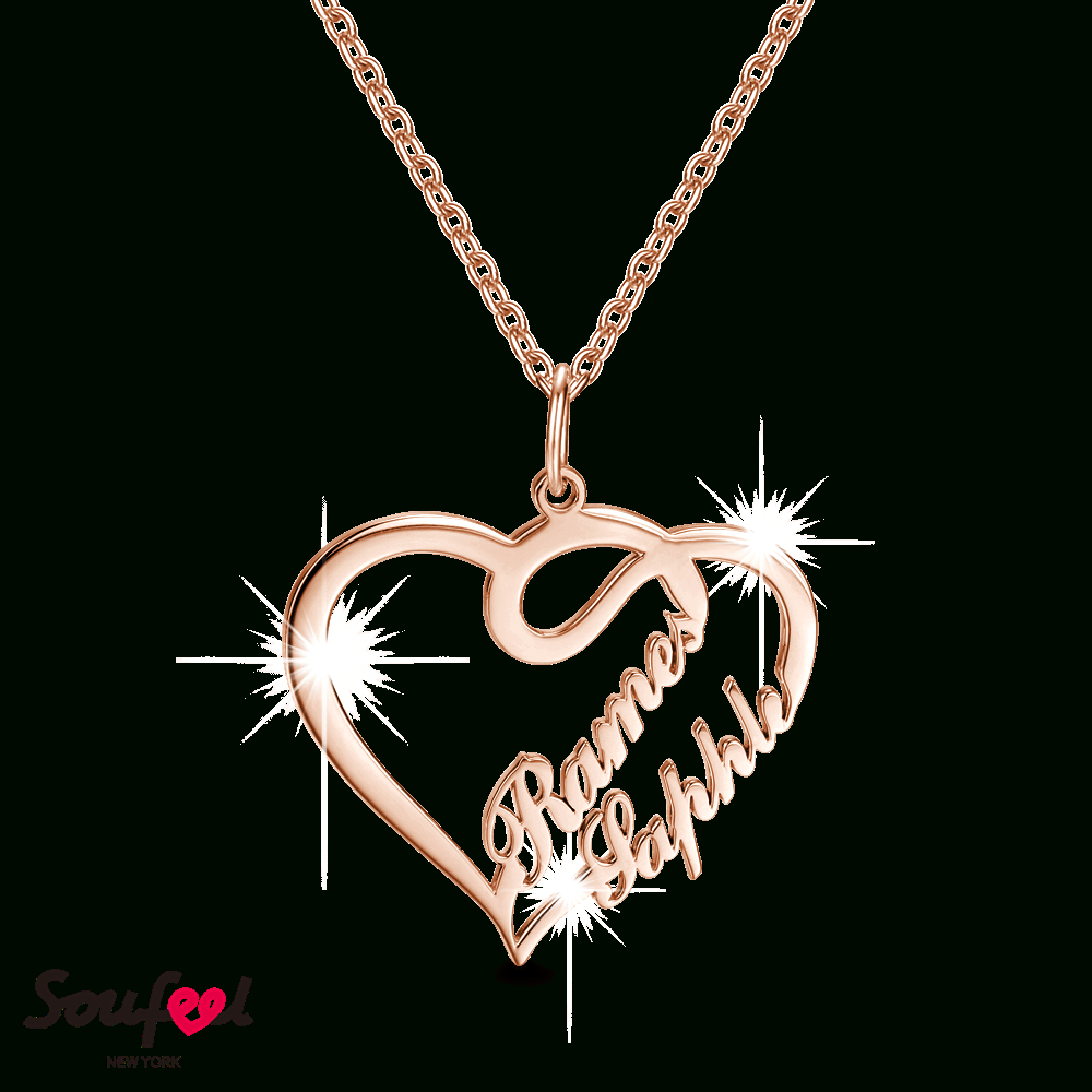 Overlapping Hearts Personalized Name Necklace Rose Gold Plated 925 Throughout Most Current Heart & Love You More Round Pendant Necklaces (View 5 of 25)
