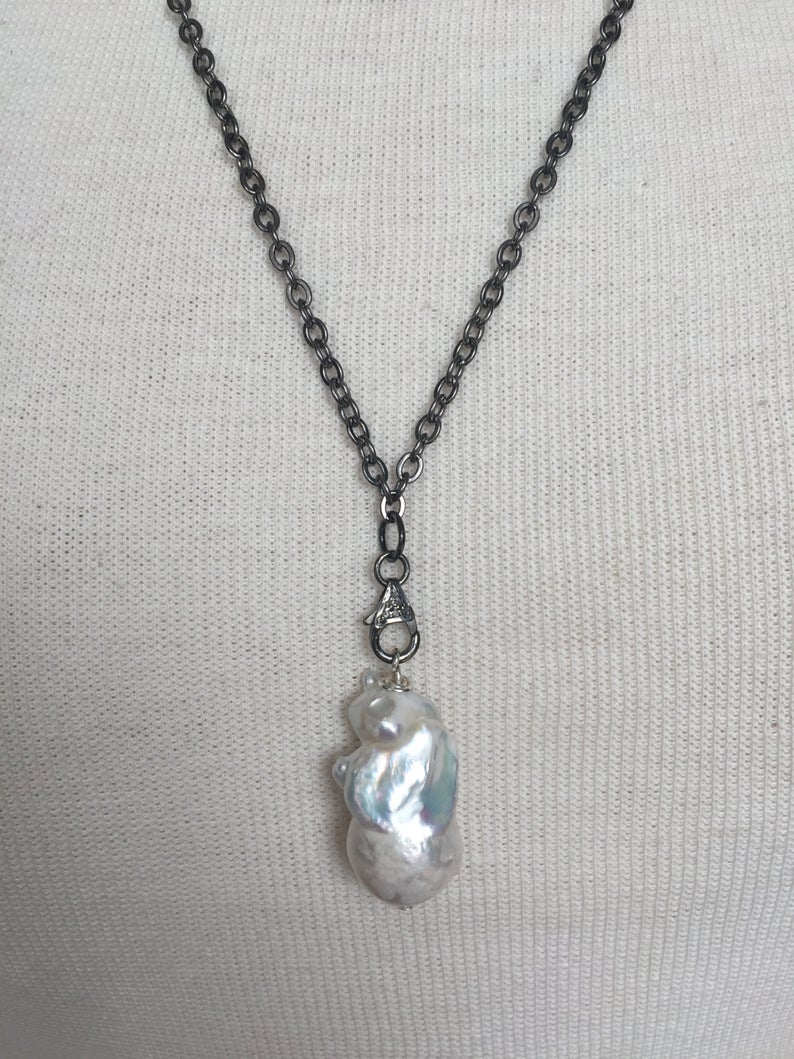Oxidized Silver Chain With Pave Diamond Clasp And Large White Freshwater Baroque Pearl Necklace (View 12 of 25)