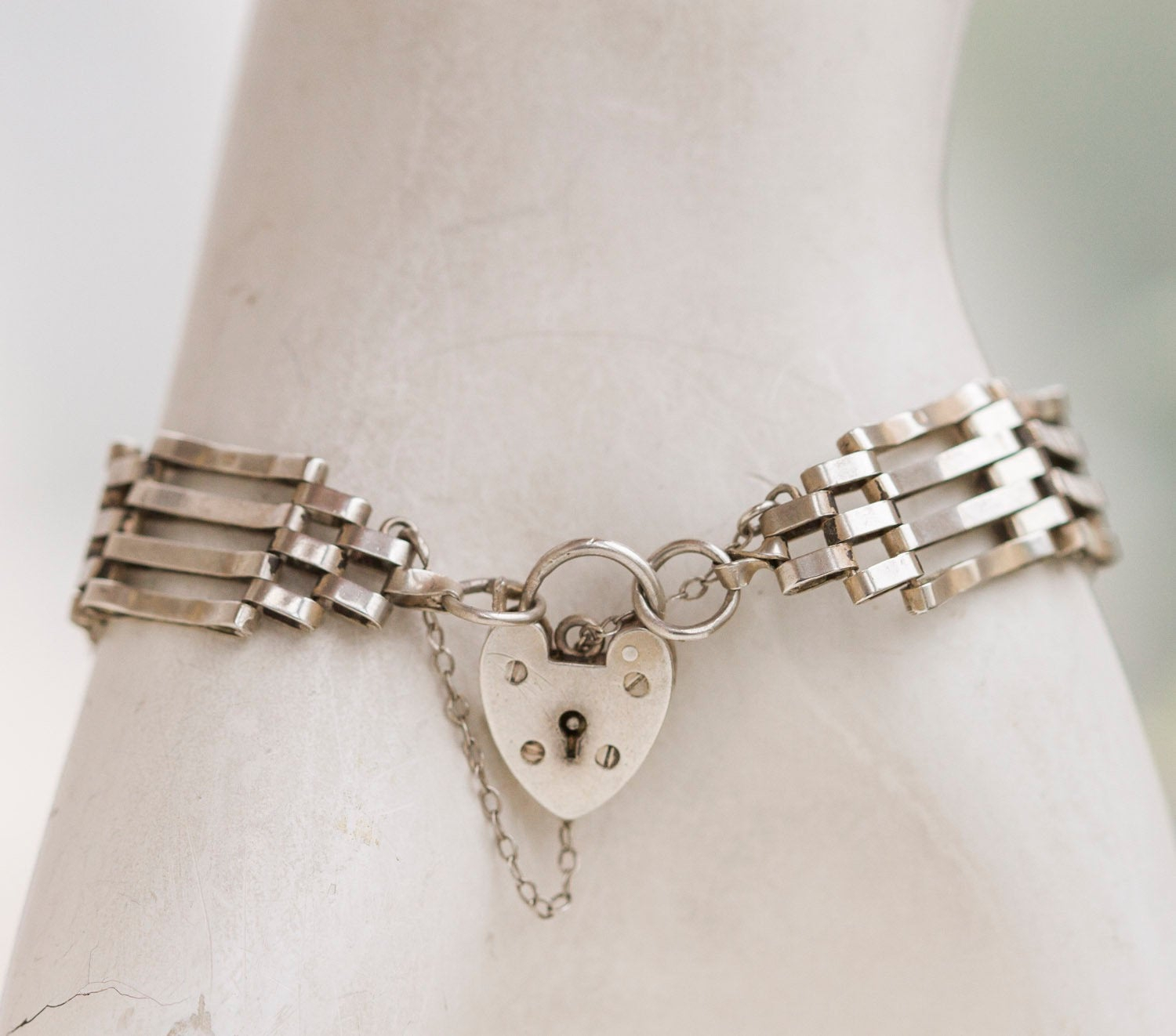 Padlock Gate Bracelet – Sterling Silver Love Lock – Vintage 5 Bar Gate Bracelet With Heart Padlock Intended For Most Up To Date Gate Of Love Necklaces (View 15 of 25)