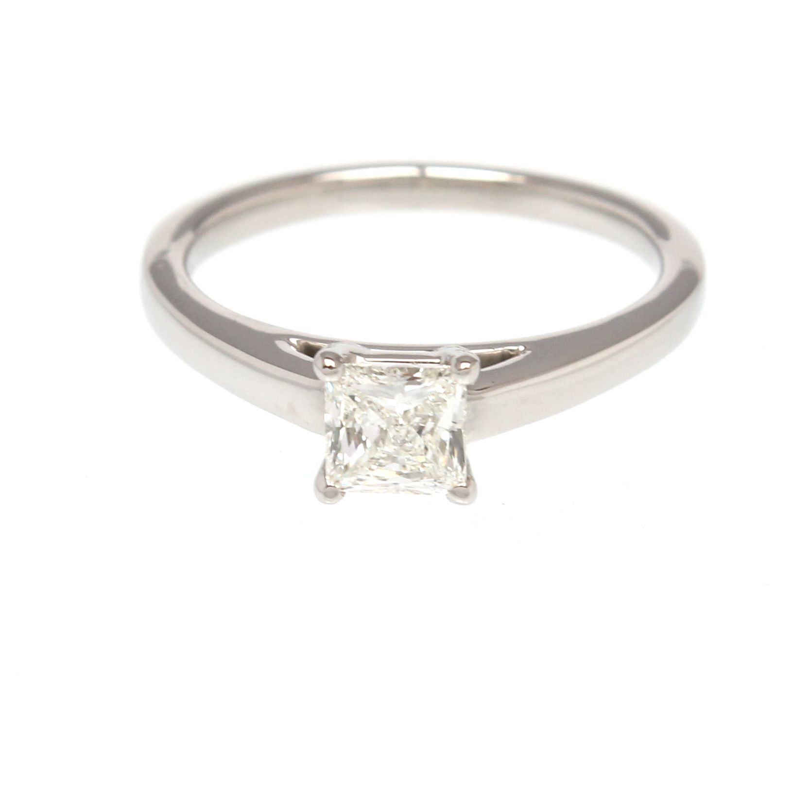 Palladium Single Stone Princess Cut Diamond Ring Intended For Most Recent Princess Wishbone Rings (View 13 of 25)