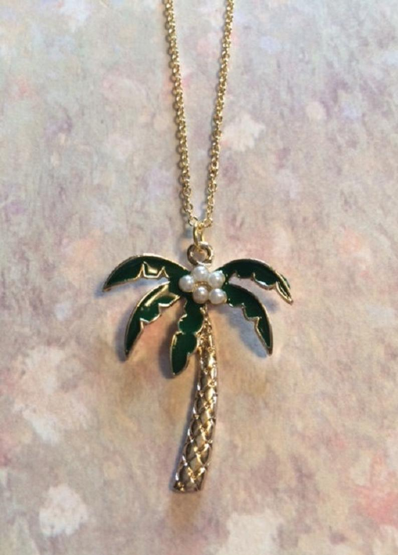 Palm Tree Necklace – Palm Tree Jewelry – Coconut Tree – Hawaiian Jewelry – Hawaiian Necklace – Tropical Necklace – Tropical – Palm Tree Gift Regarding Current Tropical Palm Pendant Necklaces (View 2 of 25)