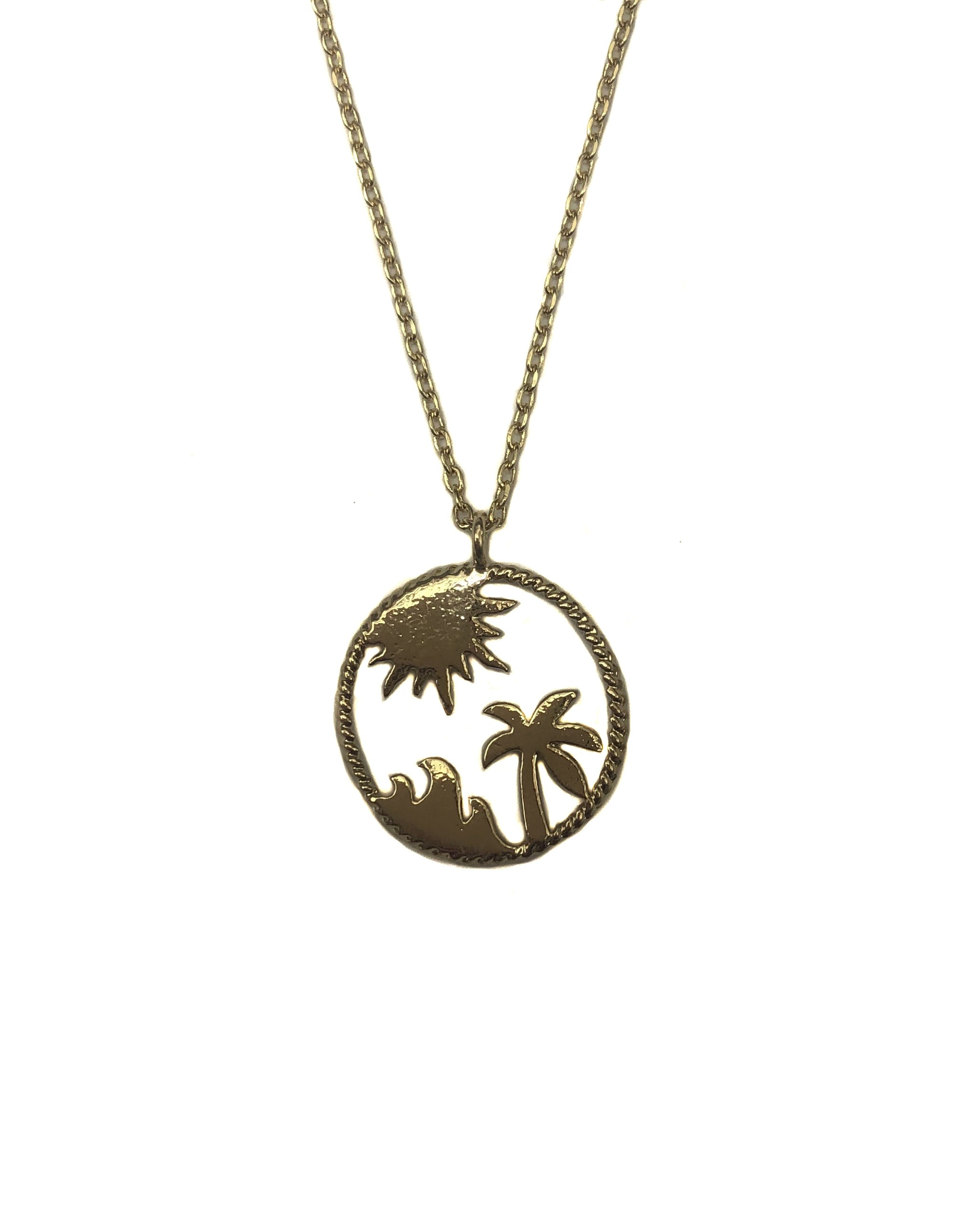 Palm Tree Tropical Cirlcle Necklace Throughout 2019 Tropical Palm Pendant Necklaces (View 23 of 25)
