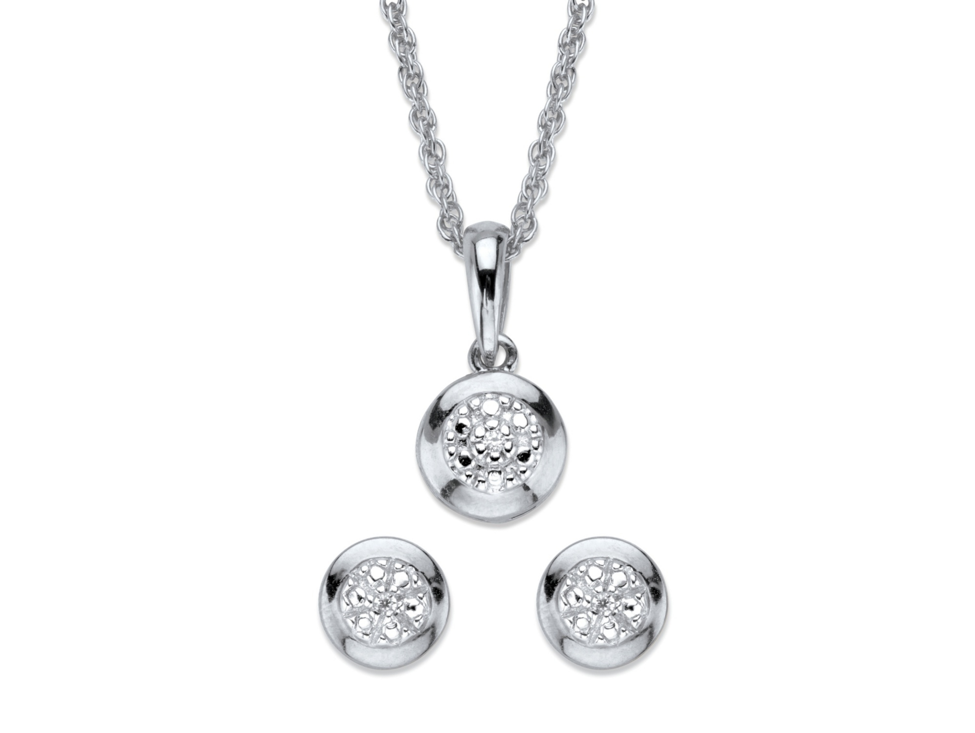 Palmbeach Jewelry – Diamond Accent Round Halo 2 Piece Stud Earrings Within Latest Round Sparkle Halo Necklaces (View 20 of 25)