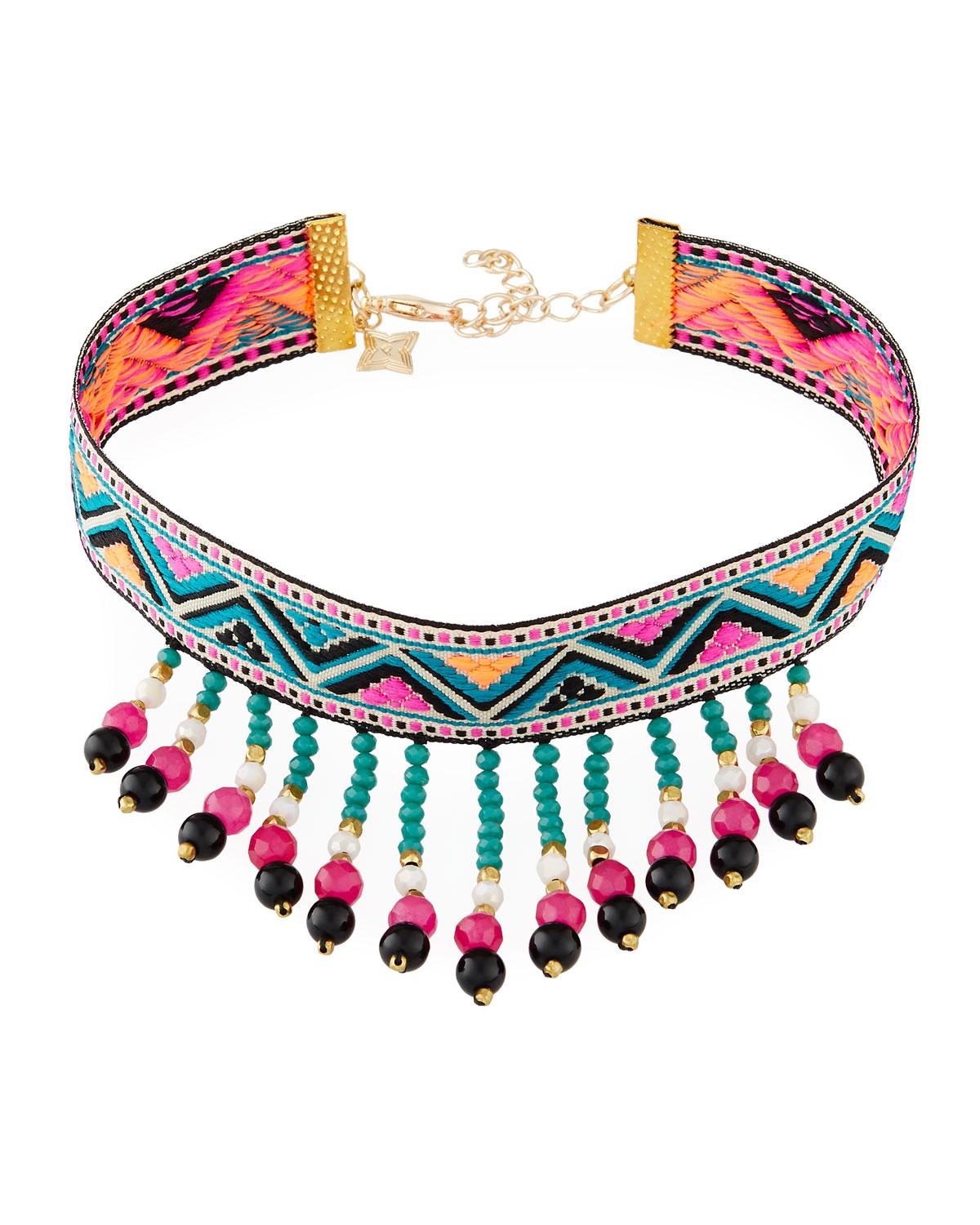 Panacea Blue Woven Beaded Fringe Choker Necklace With Latest Woven Fabric Choker Slider Necklaces (View 16 of 25)