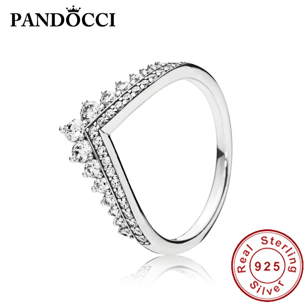 Pandocci 100% 925 Sterling Silver 19736cz Rincess Wishbone Ring Intended For Most Up To Date Classic Wishbone Rings (View 8 of 25)