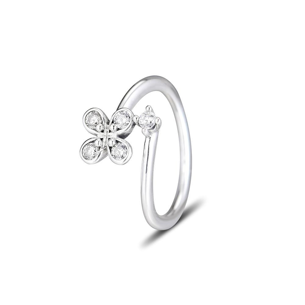 Pandocci Silver 925 Jewelry Four Petal Flower Rings For Women Fashion  Making Anniversary Gift Sterling Silver Original Ring Intended For Most Up To Date Four Petal Flower Rings (Gallery 3 of 25)