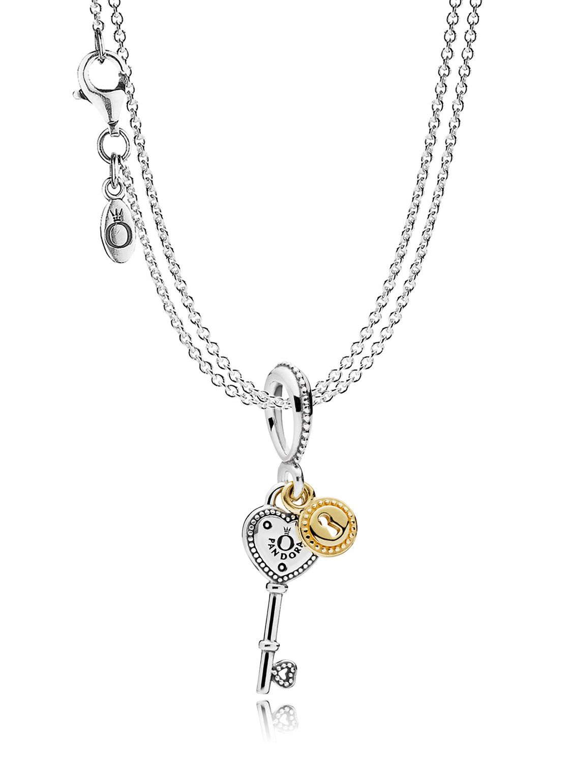 Pandora 08393 Necklace Key To My Heart Pendant Pertaining To Most Popular Interlocked Hearts Collier Necklaces (View 15 of 25)