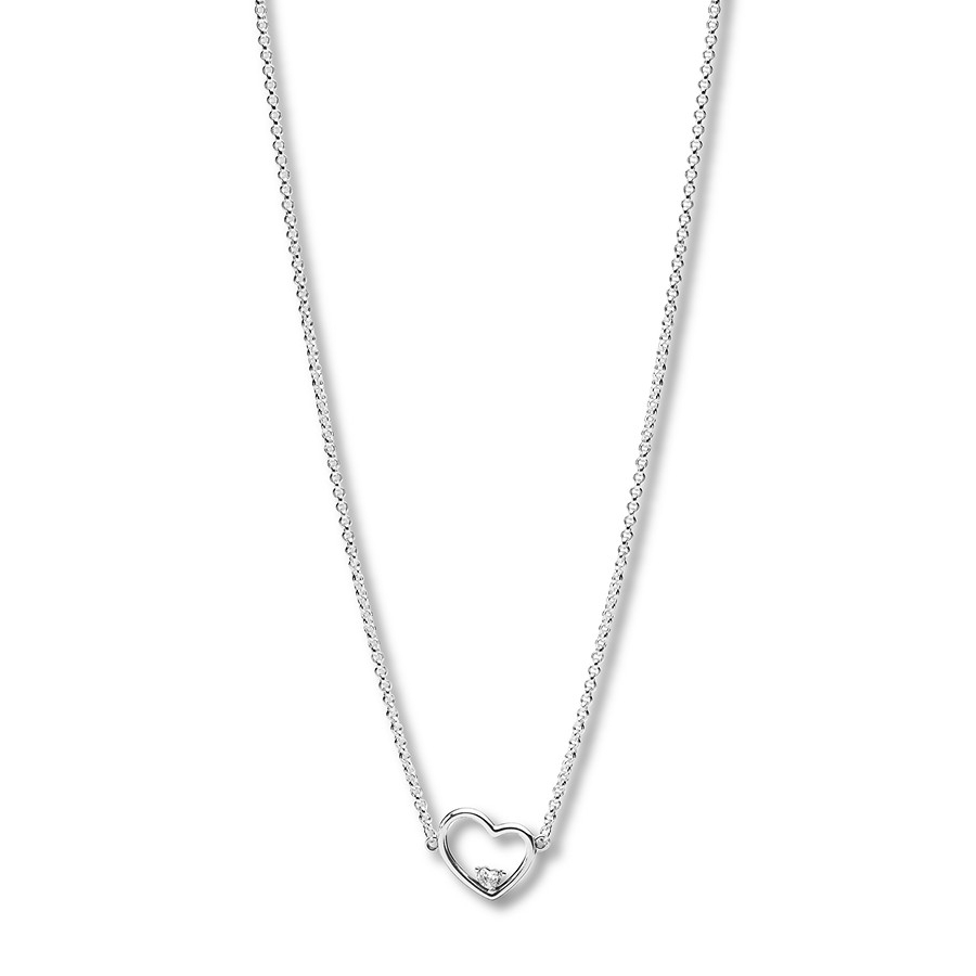 "Pandora 17.7"" Necklace Asymmetric Heart Of Love Intended For Most Up To Date Pandora Moments Small O Pendant Necklaces (Gallery 4 of 25)"