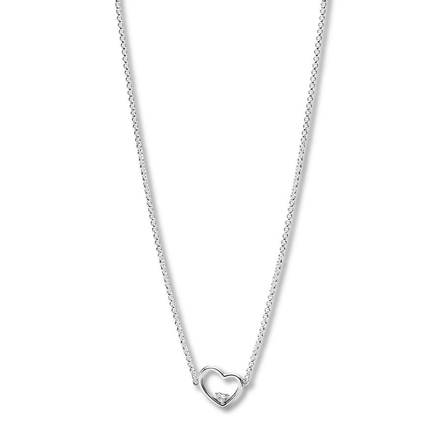 "Pandora 17.7"" Necklace Asymmetric Heart Of Love Throughout Best And Newest Asymmetrical Heart Necklaces (Gallery 1 of 25)"