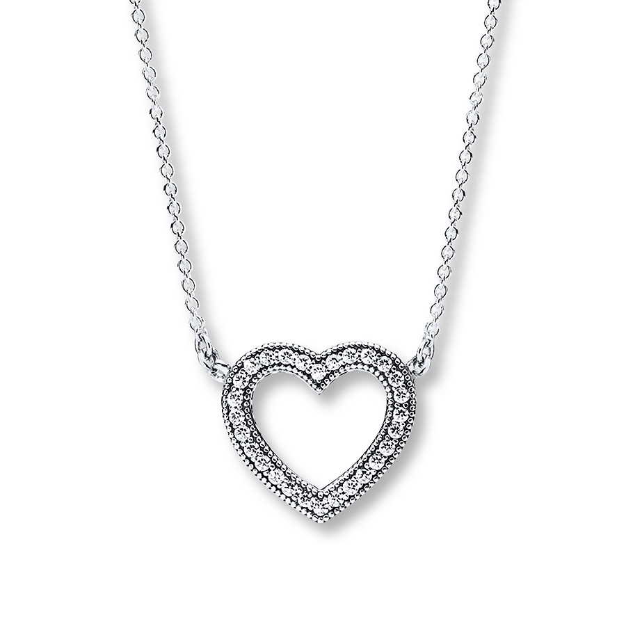 "Pandora 17.7"" Necklace Loving Hearts Sterling Silver With Regard To Current Pandora Moments Medium O Pendant Necklaces (Gallery 6 of 25)"