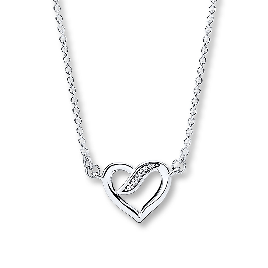"Pandora 17.7"" Necklace Ribbons Of Love Sterling Silver In Latest Pandora Moments Large O Pendant Necklaces (Gallery 9 of 25)"