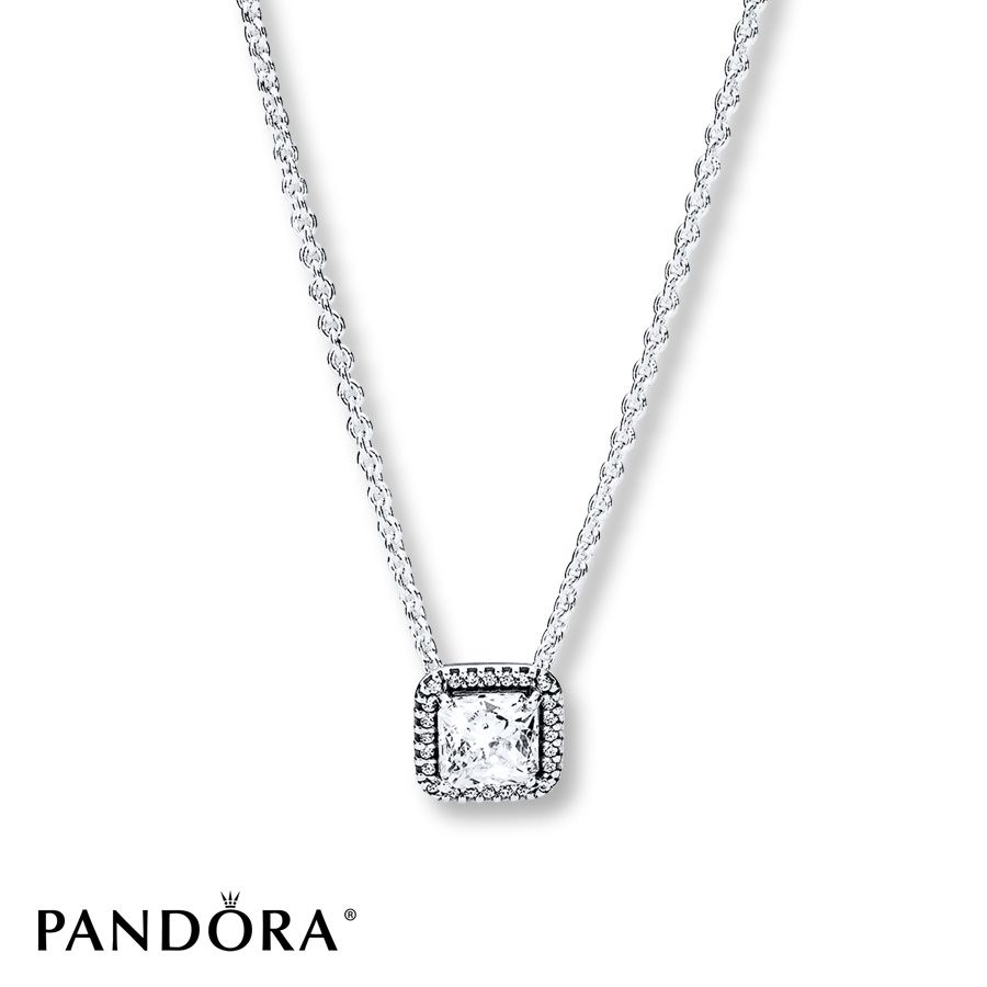 "Pandora 17.7"" Necklace Timeless Elegance Sterling Silver In 2019 With Regard To Recent Square Sparkle Halo Necklaces (Gallery 3 of 25)"