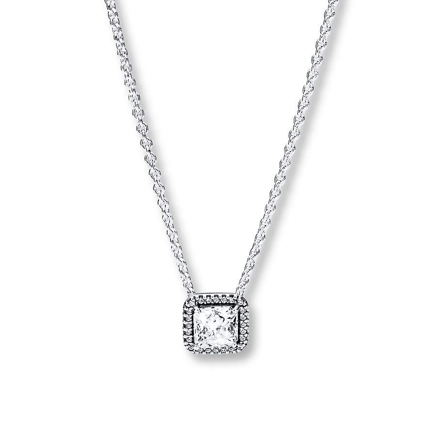 """Pandora 17.7"""" Necklace Timeless Elegance Sterling Silver Inside Latest Sparkling Square Halo Pendant Necklaces (Gallery 18 of 25)"""