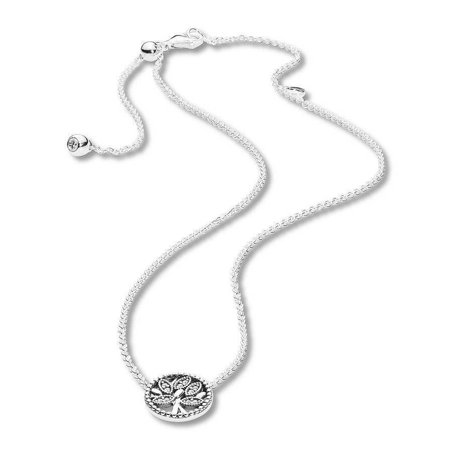 "Pandora 17.7"" Necklace Tree Of Life Sterling Silver In Newest Pandora Lockets Crown O Necklaces (Gallery 22 of 25)"