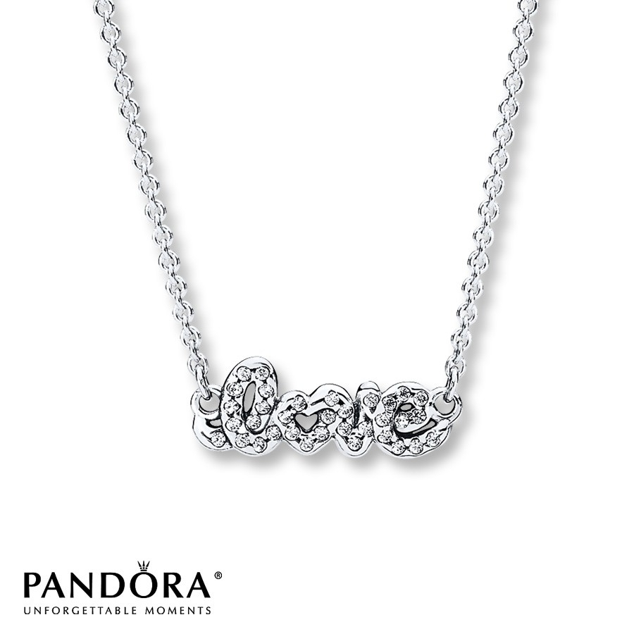 "Pandora 17.8"" Necklace Signature Of Love Sterling Silver Pertaining To Most Popular Pandora Moments Medium O Pendant Necklaces (Gallery 9 of 25)"
