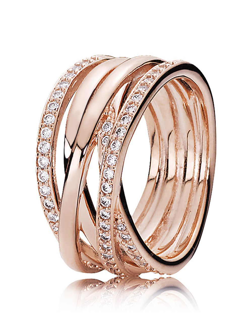 Pandora 180919Cz Ladies Ring Entwined Rose For Latest Entwined Circles Pandora Logo & Sparkle Rings (View 7 of 25)