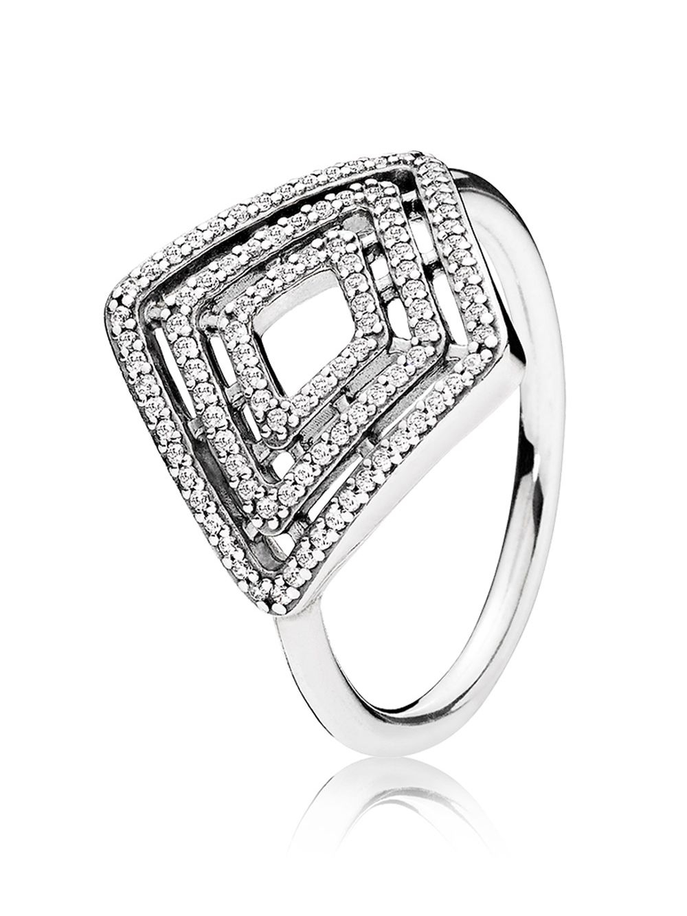 Pandora 196210Cz Ladies Ring Geometrical Lines Pertaining To 2017 Sparkling & Polished Lines Rings (View 15 of 25)